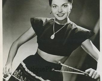 Beautiful woman Toni La Rue w xylaphone vintage photo