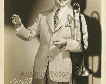 Will Bradley jazz trombone player band leader antique music photo