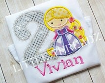 Rapunzel Princess Birthday or Initial Appliquéd & Embroidered Children's Shirt or Infant Bodysuit. Free personalization included!