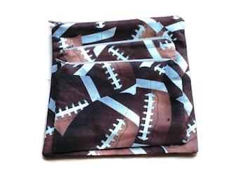 Reusable Sandwich Snack Bags  Zipper Football Brown set of 3