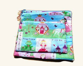 Reusable Sandwich Snack Bags set of 3 Zipper Princess Pink Lavender