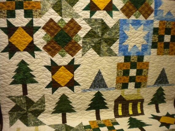 Northwood Quilt log cabin throw pacific northwest green : northwoods quilt - Adamdwight.com