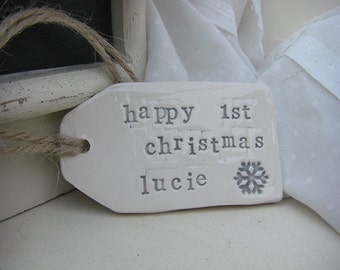 Personalised Snowflake Design Ceramic Tag