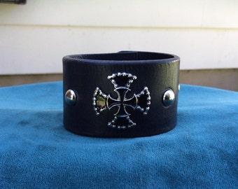 Black Leather Cuff with Cross and Studs