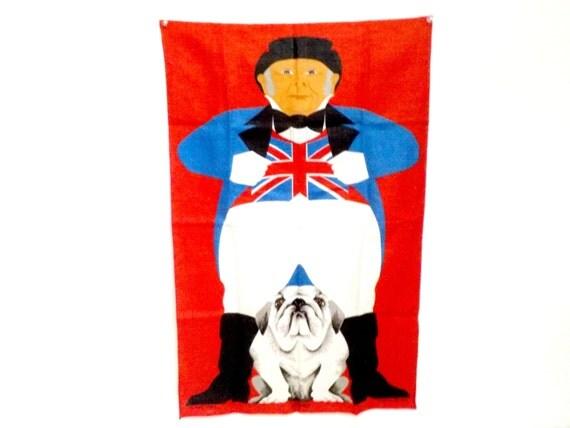 Linen Tea Towel, Irish Linen, English Bulldog and British Flag, Ulster Irish Linen Tea Towel, Bristish Flag and English Bulldog