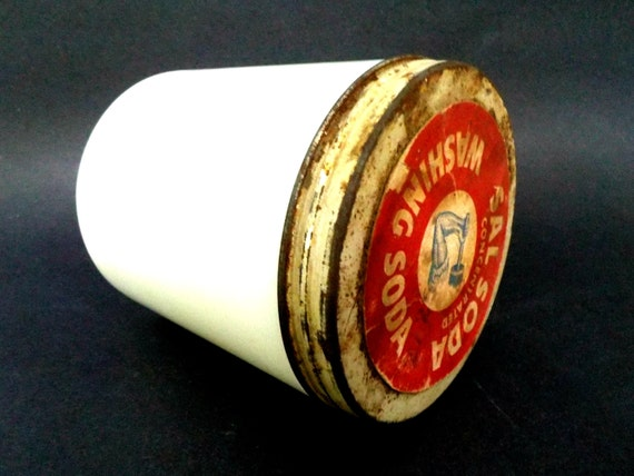 Arm and Hammer Sal Soda Washing Soda in White Heavy Glass Jar, Red Metal Lid, 1930s, Rare, Laundry Room Decor, Antique