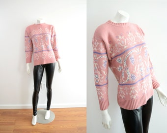 90s Baroque Bubblegum Pullover Sweater Crew Neck Oversized Knit // Xs Small