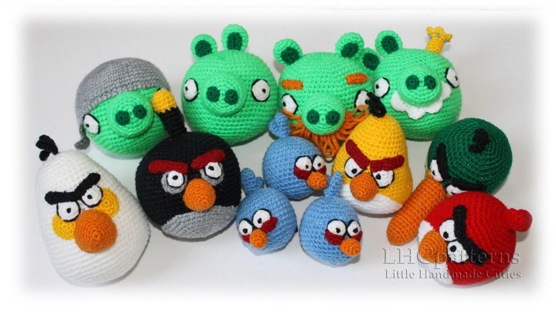 Blue Angry Bird Amigurumi Pattern : Angry Birds Crochet Pattern. Bad piggies pattern. Red bird.