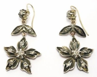 Ornate Silver & Rose Gold Rose Cut Diamonds Drop Earrings