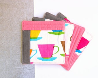 Fabric Coasters, Metro Cafe Cloth Coasters - Set of 4 - Fabric Coasters Mother's Day Gift, Hostess Gift, House Warming