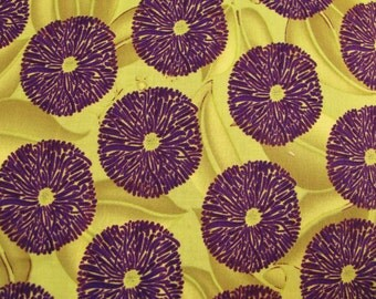 Green Purple Fabric 1 Yd. Remnant Tina Givens Sunshine Fabric Cotton