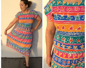 1980's summer fun palm trees drop waist dress