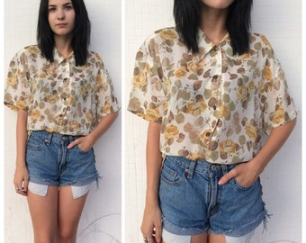 90's sheer floral blouse