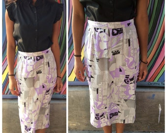 "Vintage white, silver, lavender, black abstract pencil skirt - 28"" waist"