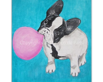 Bulldog with bubblegum 02, Original Acrylic Painting on canvas,Original & HandMade Acrylic painting, Modern Art, bulldog painting, coco