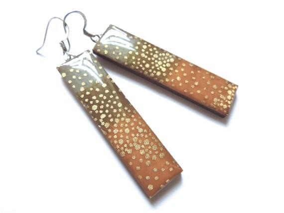 Japanese paper earrings, chiyogami earrings, lightweight earrings, gold earrings, rectangle earrings, elegant jewelry, evening, fancy