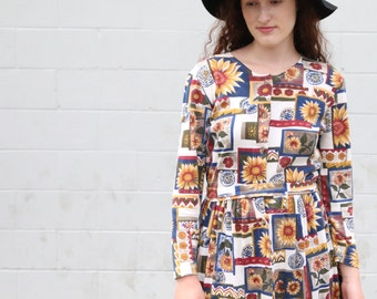 Sunflower Print 90s Style Dress