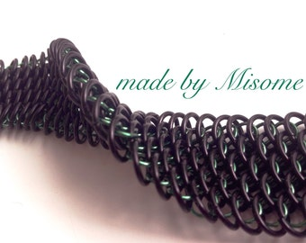 Chainmail cuff, handmade dragonscale chain mail bracelet in black and green, bright anodized aluminum chainmaille jewelry made by misome