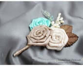 Groomsman Father Boutonniere Wedding Corsage with Satin Flowers in Ivory, Champagne, Aqua and Brown