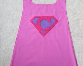 Reversible Superhero Cape with Custom Superman Initial