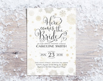 Printable Bridal Shower Invitations, Winter Bridal Shower Invitation, Holiday Bridal Shower Invite, Snowflakes, Gold (3 colors - 01)