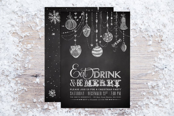 Printable Christmas Invitations, Holiday Party Invitation, Christmas Ornaments Invite, Eat Drink and be Merry