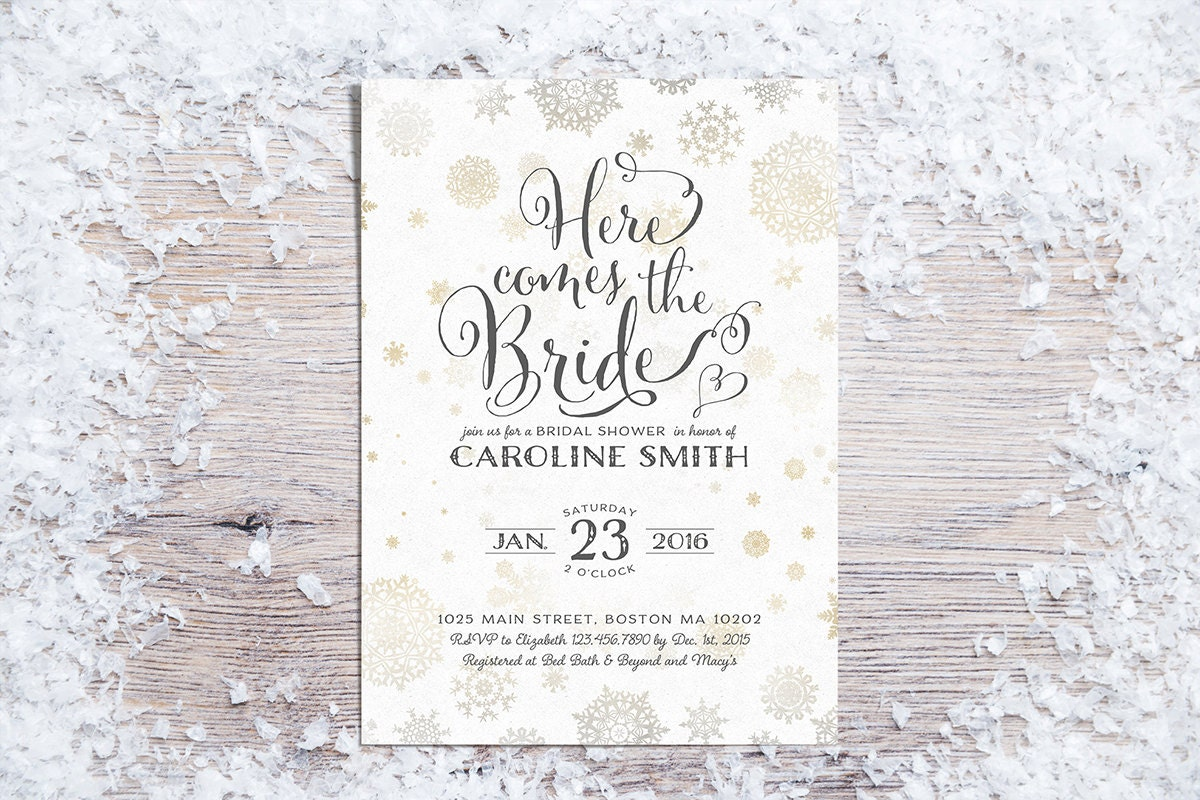 Wedding Shower Invitation: Printable Bridal Shower Invitations Winter Bridal Shower