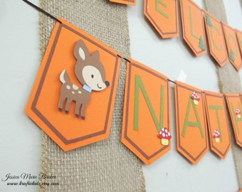Themed Party Banner, Forest Friends Party Banner, Childrens Party Banner, Birthday Banner, Baby Shower Banner, Name Sign, MADE TO ORDER