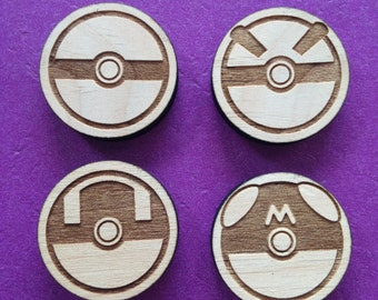 Set of 4 Wood Pokeball Magnets