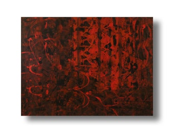 "Large abstract contemporary painting 40""x30""x""1.75 Gallery canvas ""Red420"" by K. Davies"