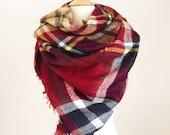 Valentine's Day gifts Plaid Blanket Scarf in Red Oversized Zara Tartan Scarf Gift Ideas Accessories