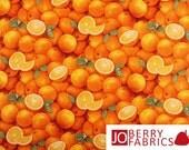 Orange Fabric, Food Festival by Elizabeth's Studio, Quilt or Craft Fabric, Fabric by the Yard