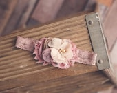 Vintage Pink Mauve Taupe Lace Headband, Mauve Headband ,Baby Headband,Taupe Headband Lace headband