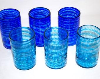 Set of Six: AQUA BLUE, COBALT Blue, Spiral Glasses, Hand Blown Tumblers, Art Glass, Glassware, Tableware, Dinnerware