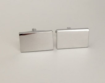 Engraved Shiny Rectangle Cufflinks. Silver Cuff Links. Personalized Groomsmen Gift. Birthday.Anniversary.Gift for Dad.Husband.Mens Cufflinks