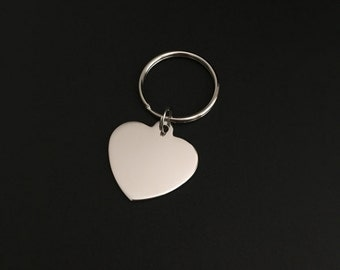 Personalized Heart Key Chain. Stainless Steel Heart Key Chain. Bridesmaid Gift. Wedding. Birthday. Friendship. Keepsake Gift.Heart Key Chain