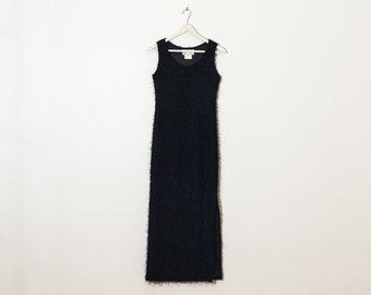 on sale - black fuzzy maxi dress / long sleeveless evening dress / size S