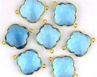 Blue Topaz Clover Shape Pendant, 27x20mm 24k Gold Plated Double Bail Gemstone Connector 1pc (HB-10236)