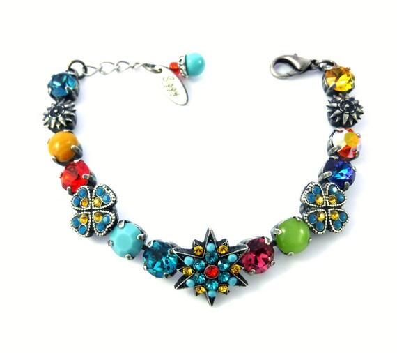 Kaleidoscope Swarovski Crystal Multi Colored Flower Bracelet