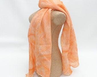 Orange nuno felted silk scarf