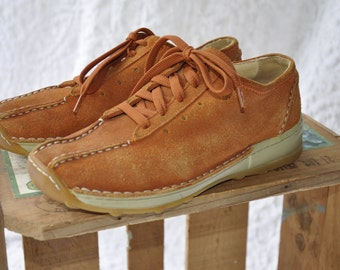 80s Wolky Shoes Leather Lace Ups || Hippie Oxford Shoes. Retro 80s Sneakers. Mod Lace Ups. Orange Leather Shoes Wolky Lace Up Oxford Shoes