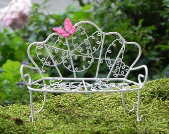 Fairy Garden Furniture Bench white metal miniature accessories for terrarium supply dollhouse miniature butterfly accessory for fairy garden