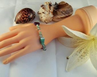 Fluorite, Aventurine, Opal and a Green Agate Bracelet