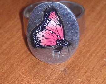 Beautiful Vintage Sterling Silver Butterfly Adjustable Ring