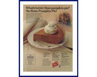Thanksgiving Day Theme / Knox Gelatine, Johnston's Pie Crust & Eagle Sweetened Condensed Milk Original 1980 Vintage Ad - Pumpkin Pie Recipe