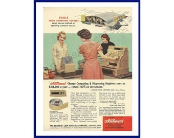 NCR / EAGLE FOOD Shopping Centers Original 1957 Vintage Color Print Ad - Cashier & Customer in Grocery Store; National Cash Register