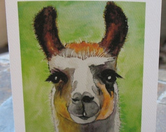 Llama Watercolor Artwork Printed on Folded Note