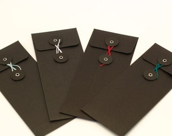 Black String Tie Envelopes 6 x 2.5 inch Ticket Envelope