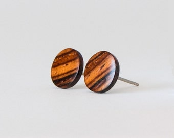 Wooden Earrings, Cocobolo Wood Studs, Unisex Stud Earrings, Wood Stud Earrings, Striped wood studs, wood post earrings, natural wood studs