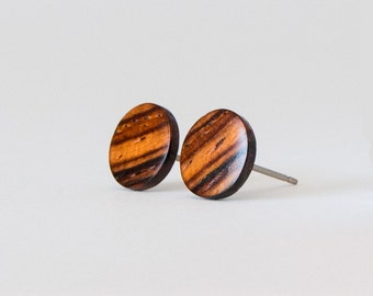 Cocobolo Wood Studs, Wooden Earrings, Unisex Stud Earrings, Wood Stud Earrings, Striped wood studs, wood post earrings, natural wood studs